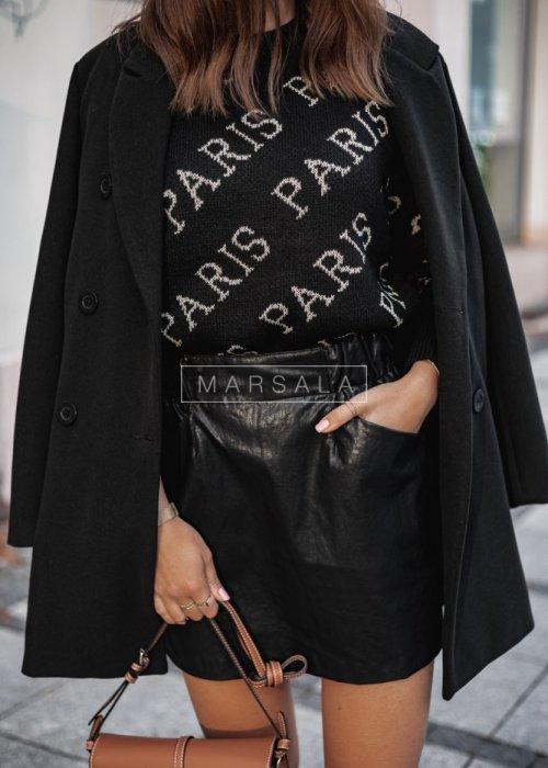 Sweter z nadrukiem Paris czarny
