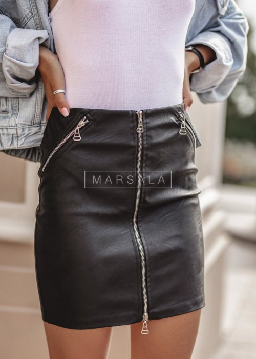 PRACTICE zip eco leather skirt