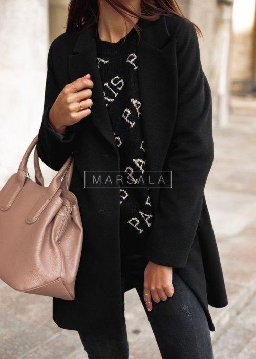 Płaszcz długi czarny STYLISH BY MARSALA