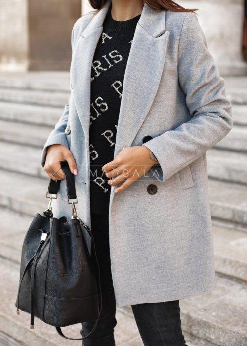 Płaszcz długi szary STYLISH BY MARSALA