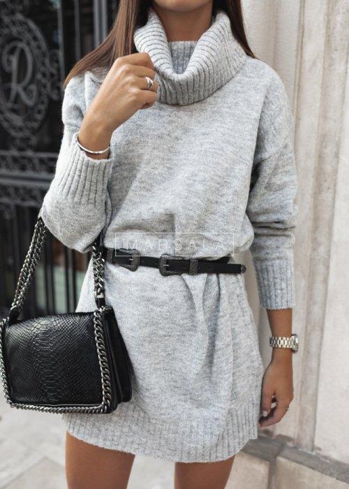 Długi sweter z golfem w kolorze szarym - SWEATDRESS