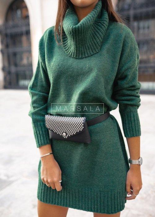 Długi sweter z golfem w kolorze butelkowej zieleni - SWEATDRESS