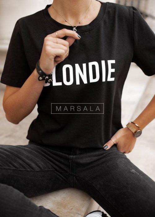 T-shirt damski w kolorze czarnym z nadrukiem BLONDIE