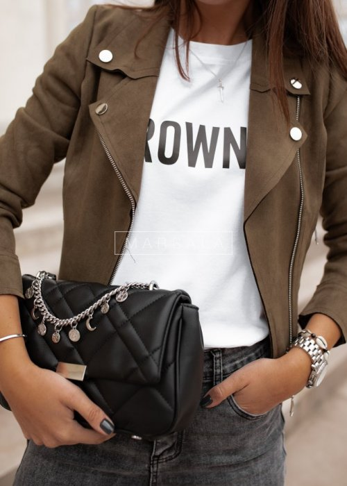 Leather jacket suede MISS khaki