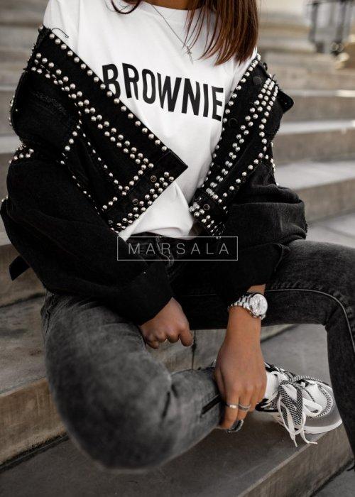 T-shirt damski z krótkim rękawem w kolorze białym z nadrukiem BROWNIE