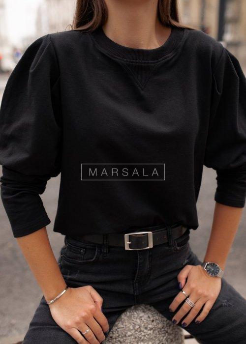 Bluza z bufkami czarna - FEMALE by marsala