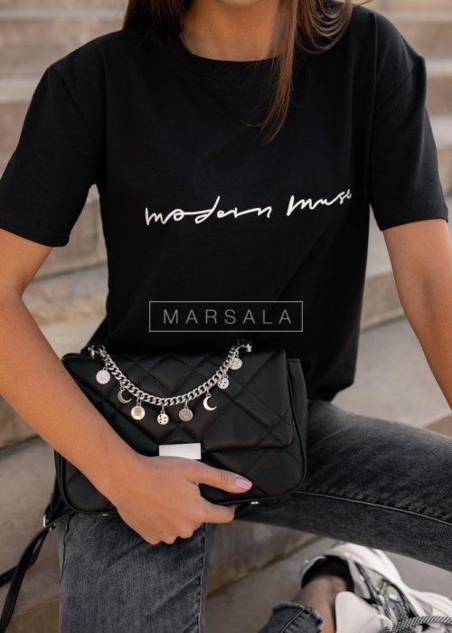T shirt damski w kolorze czarnym z nadrukiem MODERN MUSE