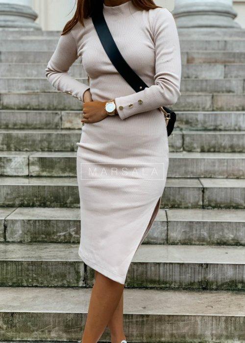 Sukienka w kolorze beżowym dopasowana z długim rękawem - GOLD BY MARSALA
