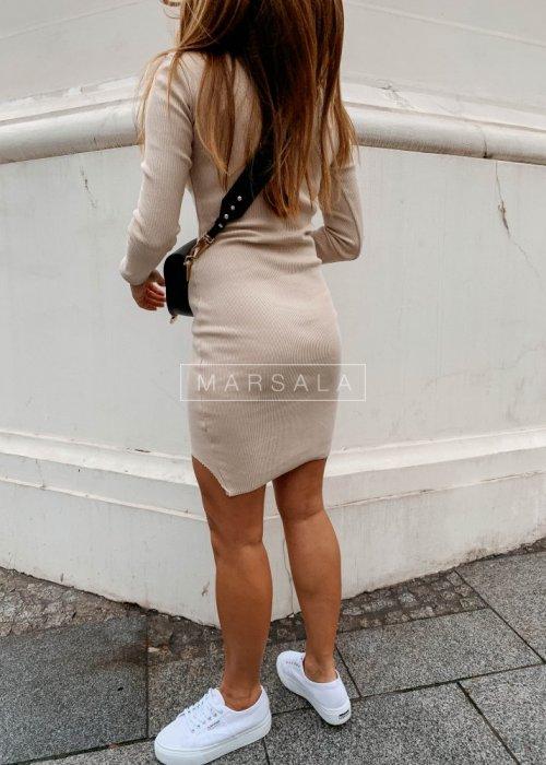 Sukienka dopasowana z długim rękawem w kolorze beżowym - PASSION BY MARSALA