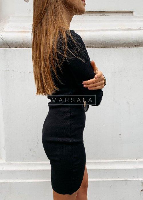 Sukienka dopasowana z długim rękawem w kolorze czarnym - PASSION BY MARSALA
