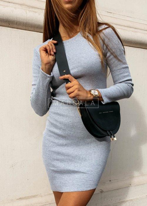Sukienka dopasowana z długim rękawem w kolorze szarym - PASSION BY MARSALA