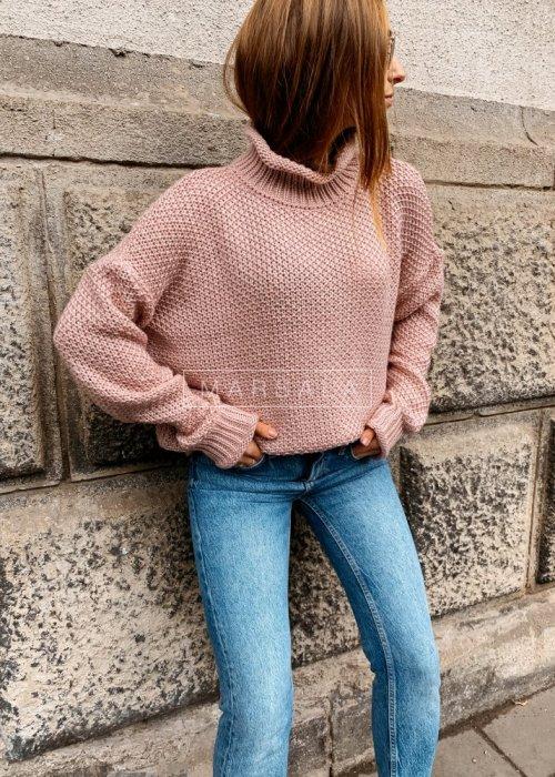Sweter z golfem w kolorze pudrowym - WILLOW