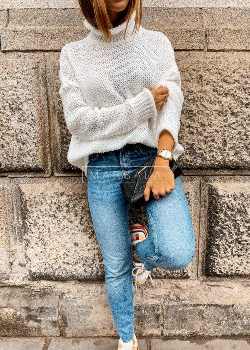 Sweter z golfem w kolorze ecru - WILLOW
