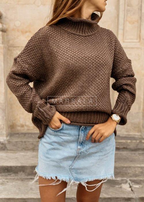 Sweter z golfem w kolorze brązowym - WILLOW