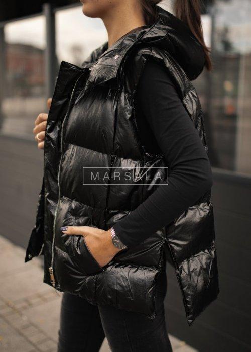 Pikowana kamizelka puchowa w kolorze czarnym bez rękawów - ARMOUR BLACK