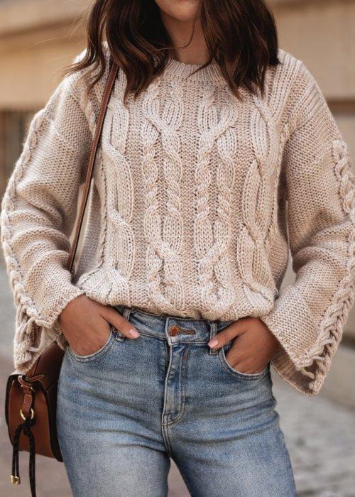 Sweter krótki z szerokimi rękawami beżowy - COCOA