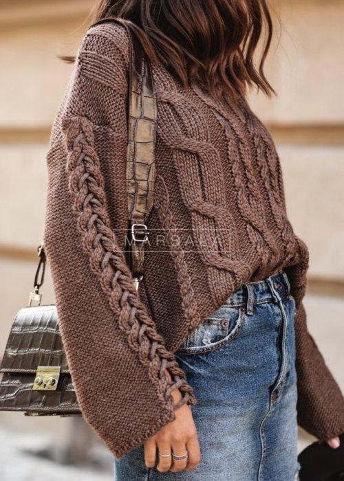 Sweter krótki z szerokimi rękawami brązowy - COCOA