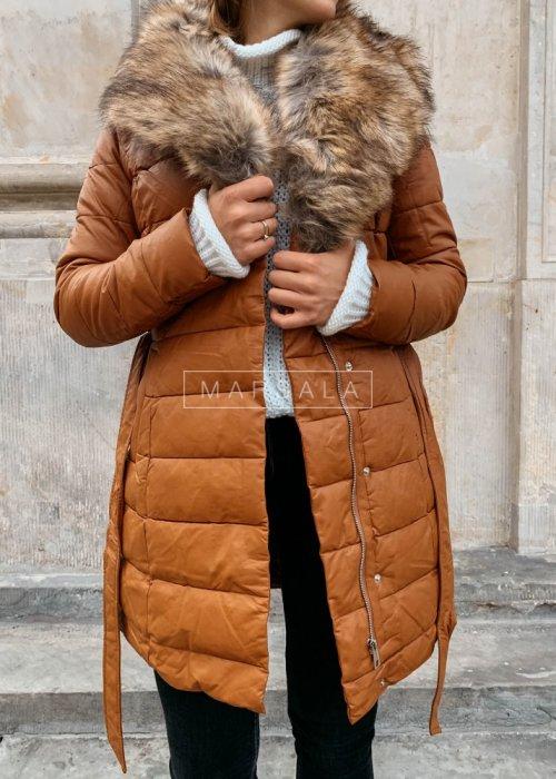 Kurtka/płaszcz kamelowy z jasnym futerkiem - PREMIUM