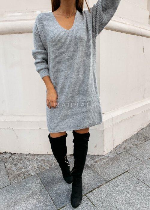 Sweter tunika w kolorze szarym MARLON