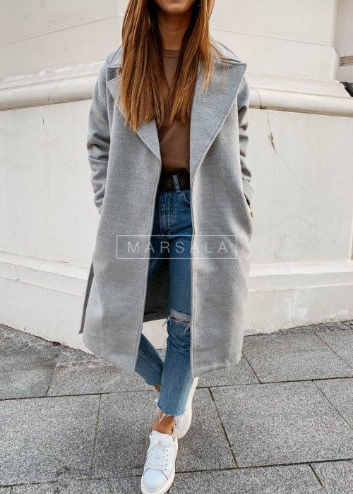 Długi płaszcz w kolorze szarym z paskiem - GOSSIP